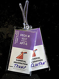 Agency promos cruise tags, cabin tags and clear tags for the travel industry. Sample of Princess, Carnival clear cabin tag