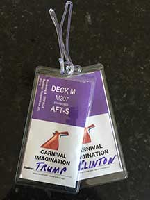 Photos of Carnival, Holland America, NCL, Princess cabin tags, clear cruise tags with Trump and Clinton names