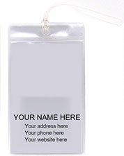 Agency promos Sample of clear cruise tag, know as cabin tag with your imprint